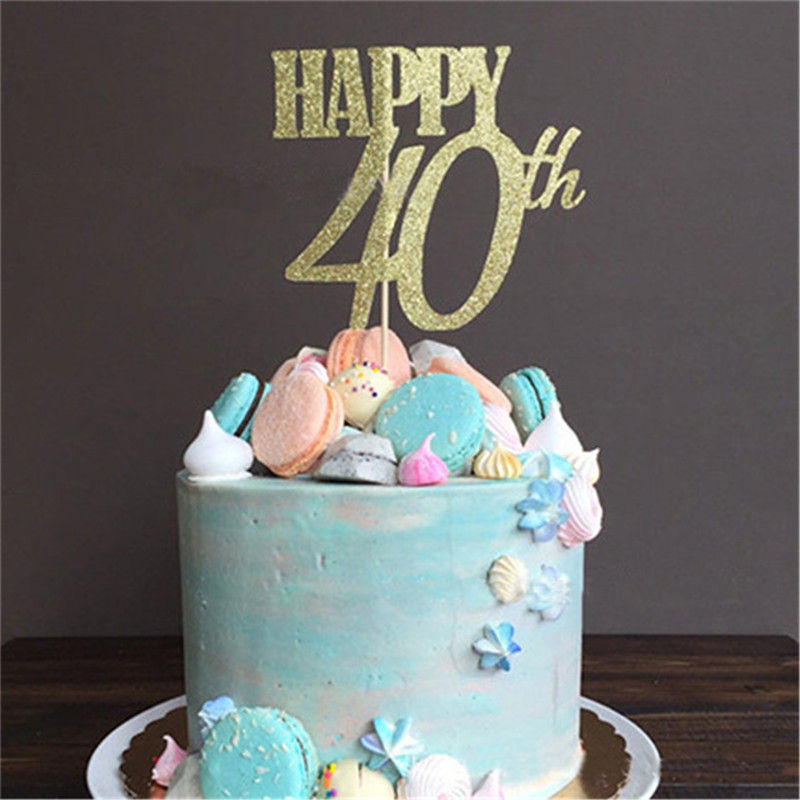 Chicinlife 1Pcs Gold Happy 30th 40th 50th 60th Cake Topper Adult Birthday Party Anniversary Decoration Supplies