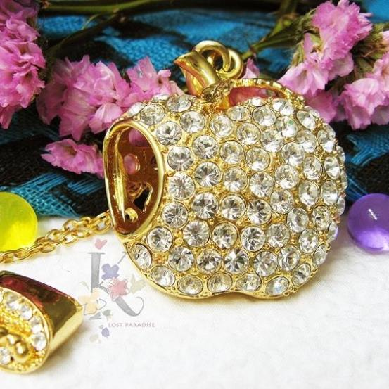 Lovely Diamond/Jewelry/Crystal Apple Necklace USB 32GB 128GB Flash Drive Memory Stick Gift USB Stick Flash Card Pendrive 2TB 1TB