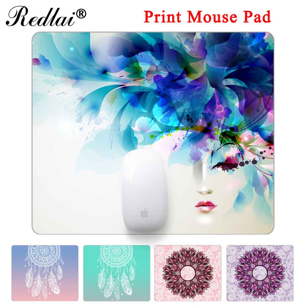 Redlai Rubber Gaming Mouse Pad Paisley Seamless Flower Print Laptop Mouse Mat Small Size Mouse Notebook Computer Mousepad