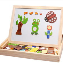 Drawing Toys Animal Spell Music Multifunctional Magnetic Double-sided Board Learning Box Puzzle Toy Wooden Block