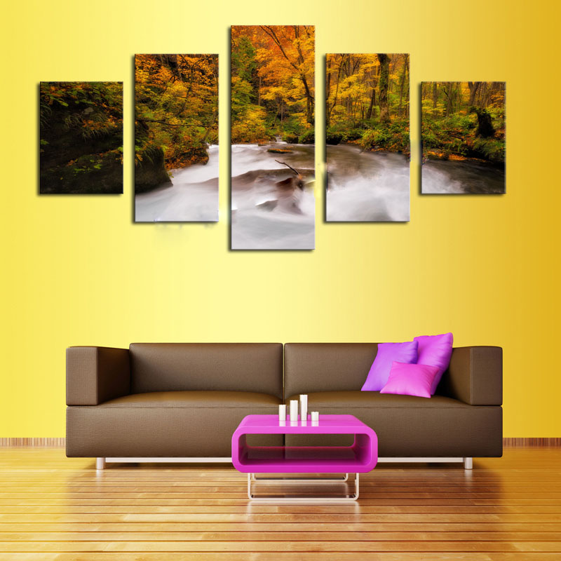 Unframed 5 Panels Streams Trees Modern Home Wall Decor Painting Canvas Art HD Print Picture For