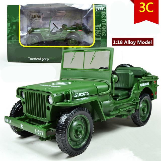 Tácticas de Guerra mundial II Willys Jeep coches, Alta calidad 1:18 Aleación Modelo Militar, Diecast juguetes, Metal jeeps, envío libre