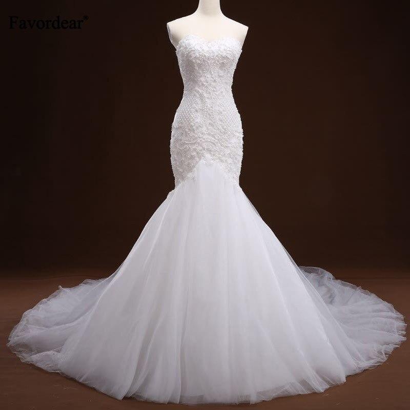 Favordear 2019 High Quality Sweetheart Long Train Mermaid Wedding Dress Vestido De Novia Princesa Beading Applique Bridal Gown