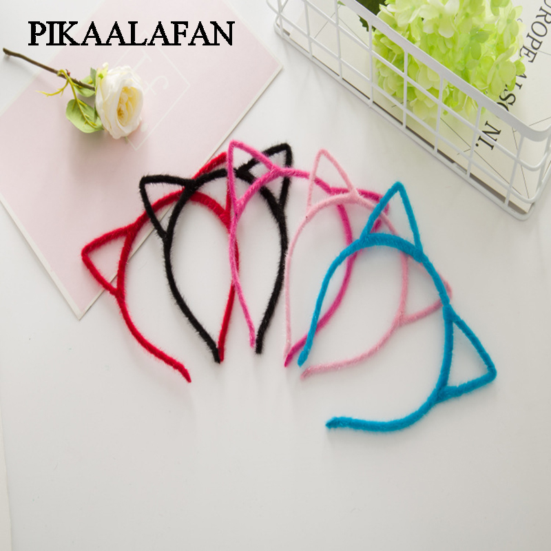 PIKAALAFAN 2018 Stylish Women Girls Furry Cat Ears Headband Devil Cat Head Hoop Toy Hats For Children's Parties