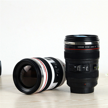 Creative camera lens water cup insulation camera lens cup six generation black and white stainless steel coffee cup creative stainless steel simulation slr camera lens thermos mug cup w cup lid black 420ml