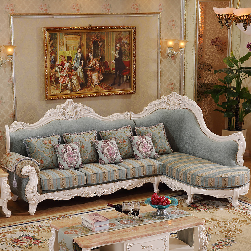 Tremendous Us 2484 0 Antique Design Elegant European Style Corner Fabric Sofa Living Room Luxury Solid Wood Fabric Sofa Set In Living Room Sofas From Furniture Dailytribune Chair Design For Home Dailytribuneorg