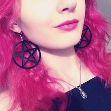 Hippie Acrylic Big Black Pentagram Star Earrings Dangle Hang