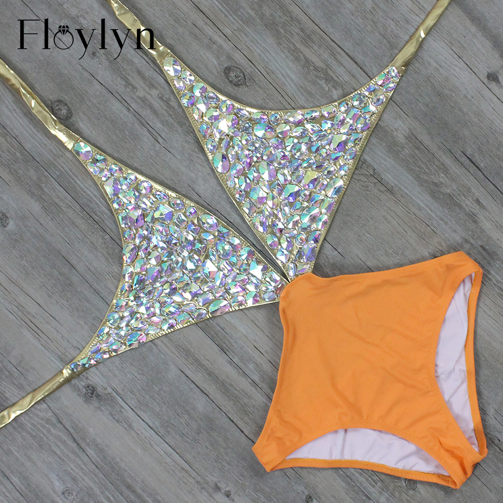 Floylyn Rhinestone One-Piece Women Swimsuit Sexy Cut Out Luxury Diamond  Swimwear Backless Crystal Gold 10a215c4dae