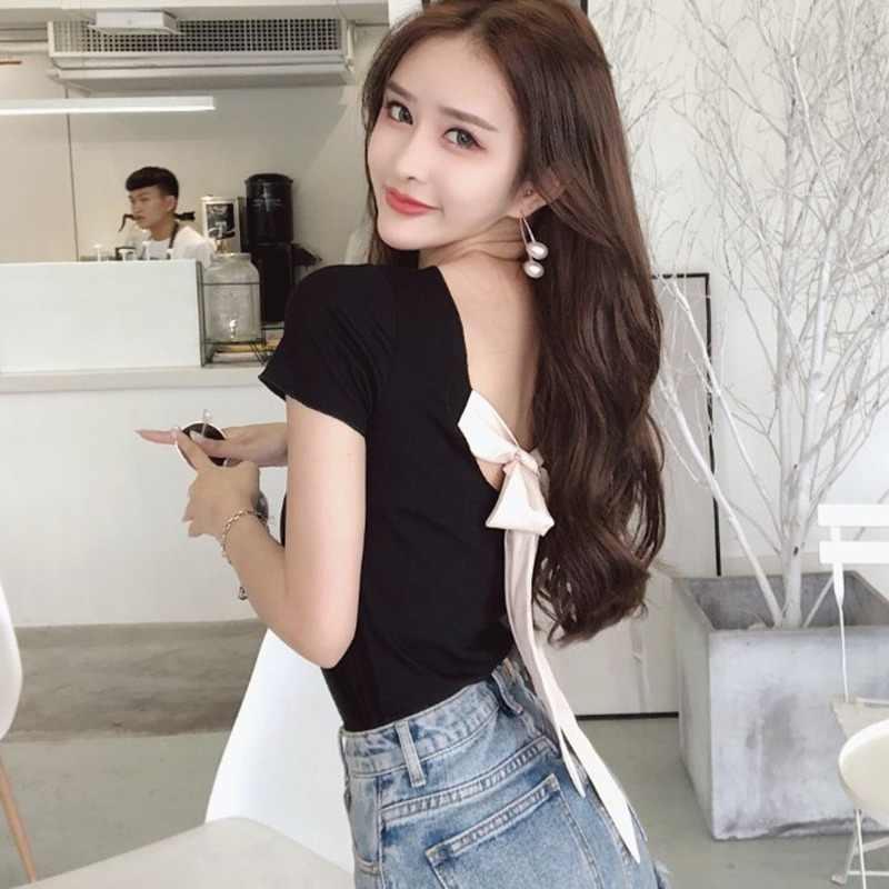 เกาหลีสไตล์ Harajuku ฤดูร้อน T เสื้อผู้หญิงแฟชั่นโบว์ด้านหลัง Tshirt สาว Streetwear Casual Tee Tops แนวโน้มสร้อยคอช้าง