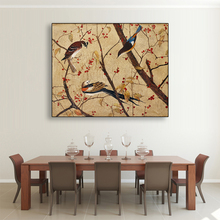 Laeacco Canvas Calligraphy Painting Vintage Chinese Flower and Birds Posters Prints Wall Art Pictures Living Room Home Decor