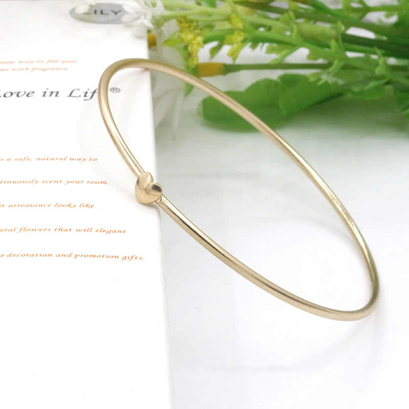 Women Gold Color Love Bangles Heart Cuff Bracelet Charm Hand Accessories Simple Fashion Jewelry