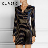 2018 sexy Bodycon Diamonds Dress Striped Black V neck Long Sleeve women velvet Dress Cocktail Slim Dress Vestidos Robe XL B 5