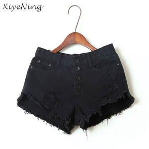 XiyeNing Women Black White Denim Shorts Jean Shorts 2018 866a2942a25