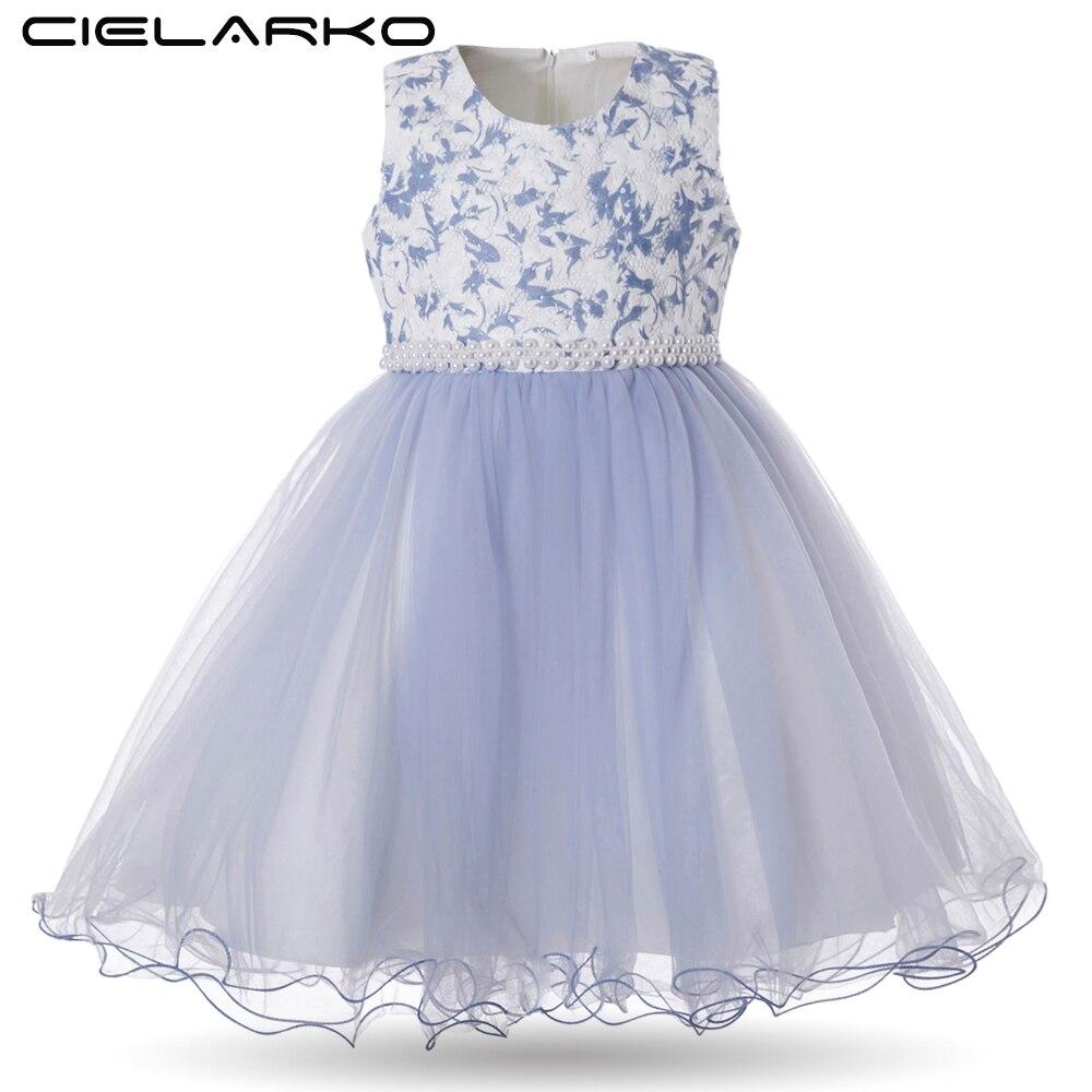 Cielarko Girls Dress for Birthday Wedding Party Flower Girl Dresses with Pearls Beading Sleeveless Kids Ball Gown Toddler Frocks