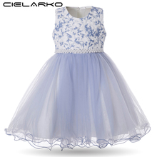 Cielarko Girls Dress for Birthday Wedding Party Flower Girl Dresses with Pearls Beading Sleeveless Kids Ball Gown Toddler Frocks