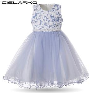Image 1 - Cielarko Girls Dress for Birthday Wedding Party Flower Girl Dresses with Pearls Beading Sleeveless Kids Ball Gown Toddler Frocks