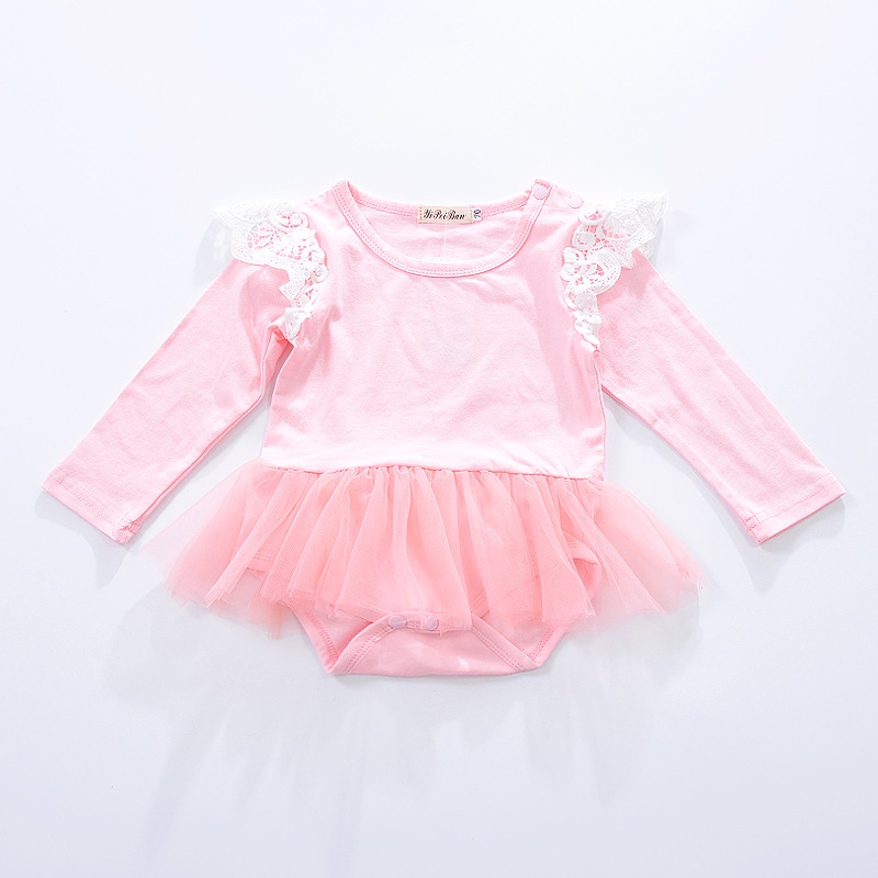 2018 Infant Bodysuit Pink Baby Girl Clothes Baby Girl Bodysuits Tutu Sunsuits For Infant Girls Newborn Onesie Long Sleeve Wing