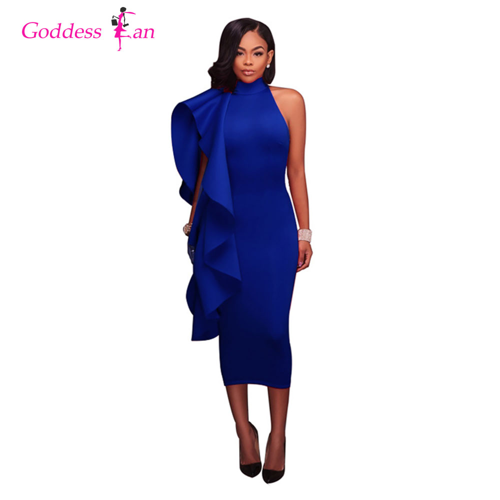 2018 New Summer Sexy One-shoulder Solid Blue Black Red Plus Size Women's Dress Stand Neck Ruffles Ladies Female Midi Dresses