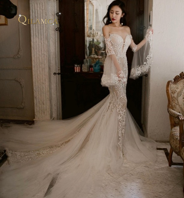 2019 Wedding Dresses With Sleeves: Custom Made Vintage Lace Mermaid Long Sleeves Wedding
