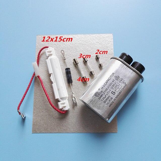 7 stücke teile glimmerplättchen + high spannung dioden + mikrowelle kondensator + sicherung für mikrowelle + kondensator de microondas