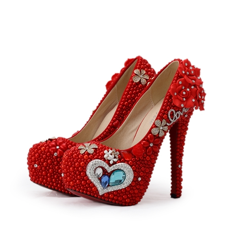 2018 Gorgeous Red Pearl Wedding Bridal Shoes Mother of the Bride Shoes Red Color Woman High Heels with Blue Crystal Plus Size