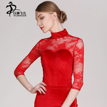 High collar 3/4 Sleeves Adult Latin Dance Leotard Lace Velvet fabric Women/ girls latin tango salsa competetion dancewear