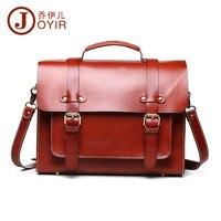 JOYIR Luxury Vegetable Tanned Leather Men's and women's Shoulder Messenger Bag Briefcase Laptop Crossbody Bag Medium Red Brown