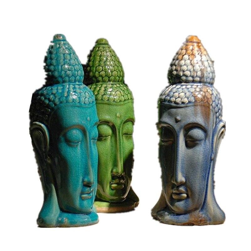 Бесплатная доставка Статуя головы Будды статуэтка Будды скульптуры буддизм керамика цвет книги по искусству и ремесло юго Восточной Азии с