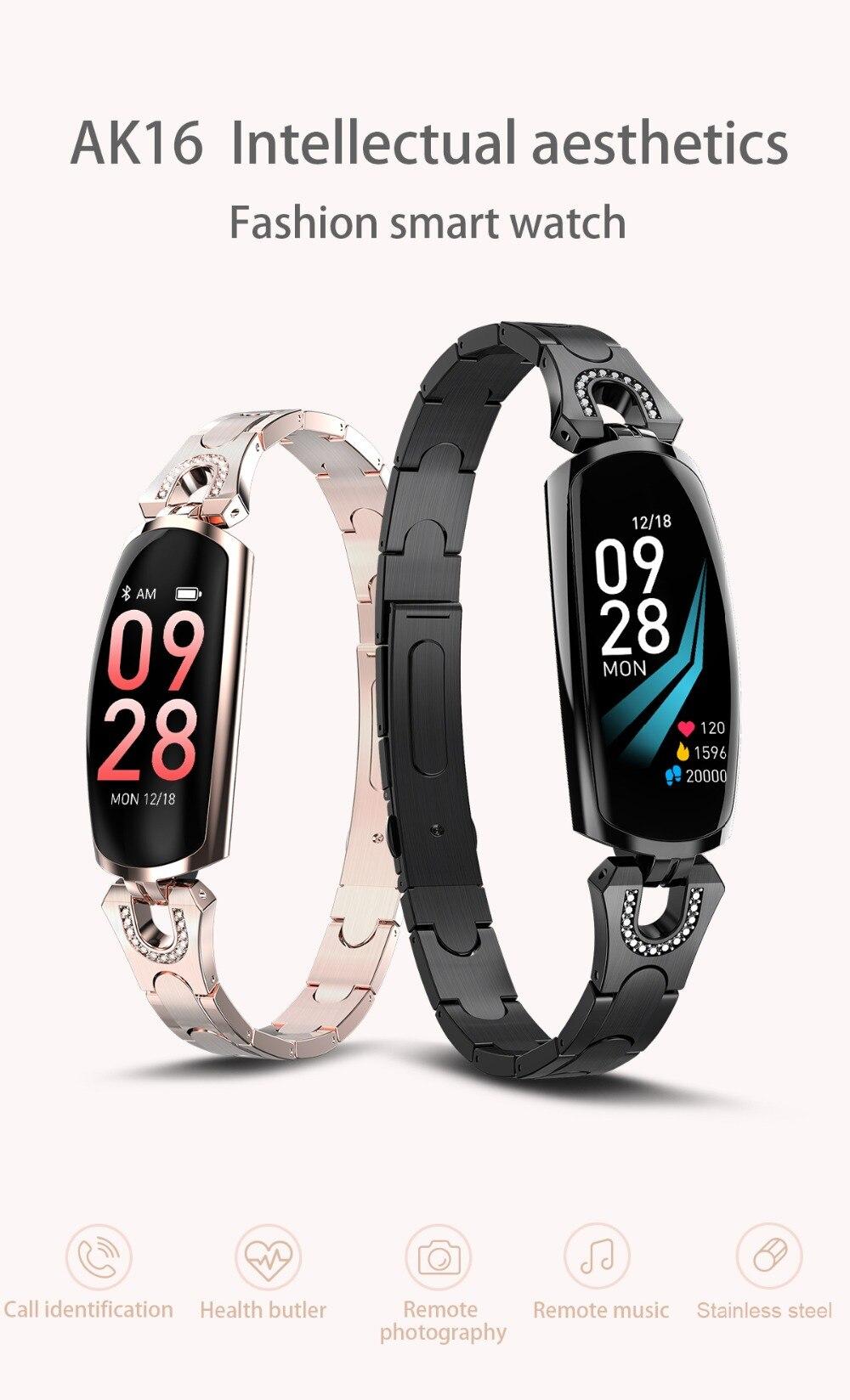 AK16 női intelligens zenekar fitnesz karkötő pulzusszám intelligens karkötő vérnyomás WristWatch Fitness Tracker SmartWatch Smartband (1)