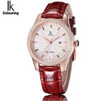 2018 IK Colouring Newest Fashion Women Quartz Watch Fashion Casual Clock Waterproof Female Leather Women S