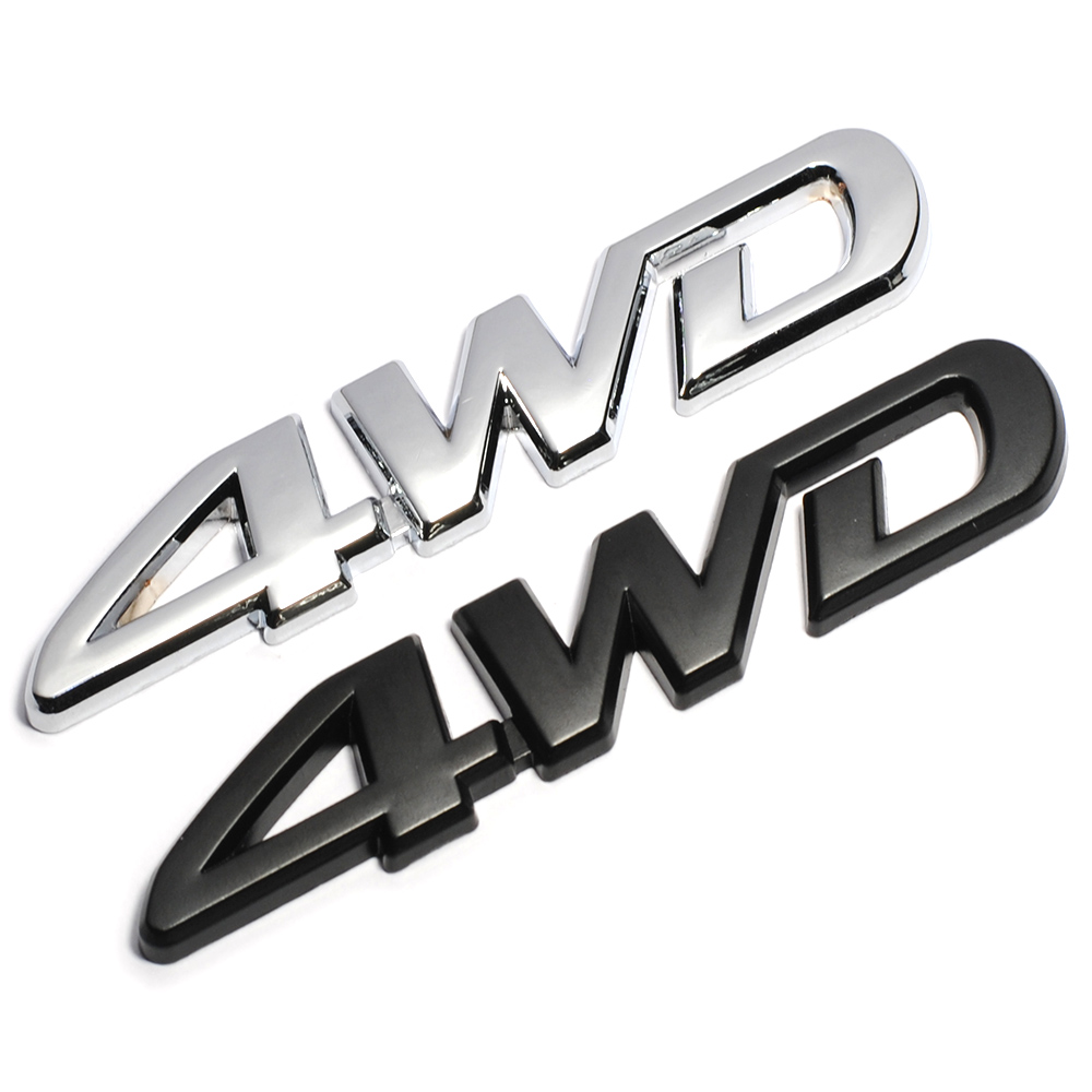 Universal 3D Silver 4WD Car Accessories Chrome Emblem Badge Decal Car Stickers
