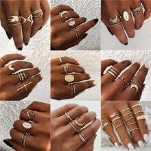 Yobest 16 estilos mujeres bohemio Vintage corona ola flor corazón estrella de loto hoja de cristal ópalo Junta anillo fiesta joyería anillo conjunto