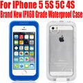 Brand New IPX68 Grade Clear Back Swimproof Dropproof Waterproof case For IPhone 5 5S 5C 4S NO: 5S28