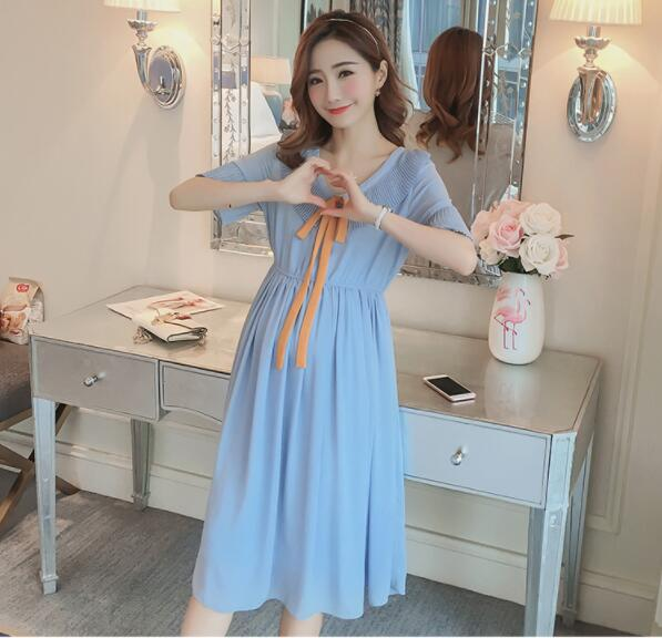 Lady Maternity Clothes New Summer Chiffon Dresses Maternity Cloth Tops Pregnancy Clothing for Pregnant Women outdoor dress