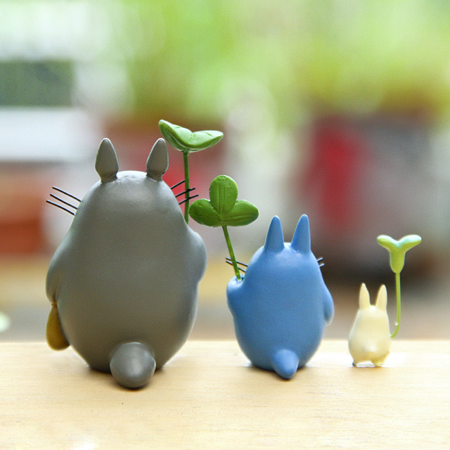 Resin Hayao Miyazaki's Totoro Model Figurines Fairy Flower Pot Ornament Miniatures Moss Gnome Decoration Crafts Gifts Home 3
