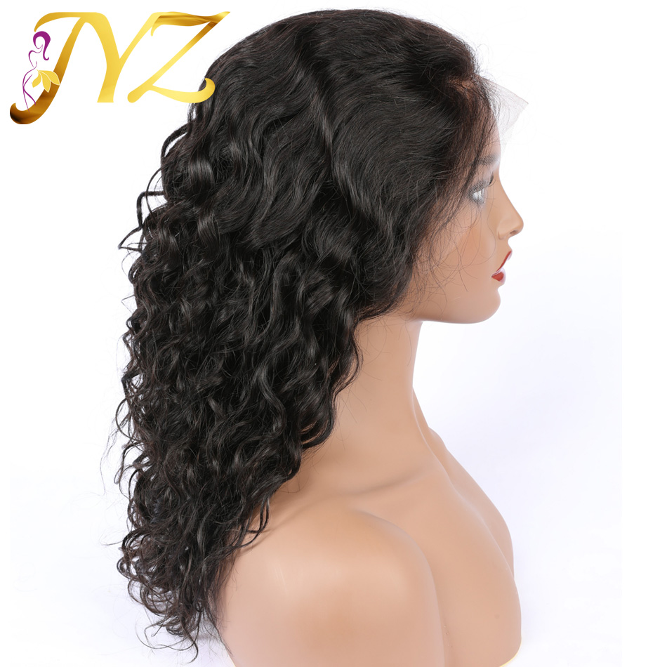 JYZ Curly Lace Front Human Hair Wigs Free Part Brazilian Remy Hair Wig 8