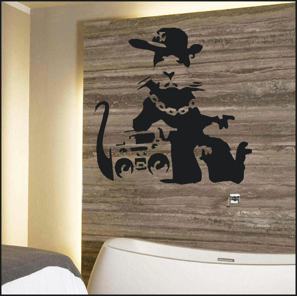 BANKSY RAT STEREO WALL ART BEDROOM GIANT STICKER STENCIL TRANSFER DECAL  Fashion Decorative Wall Sticker Home Wall Stickers In Wall Stickers From  Home ... Part 47