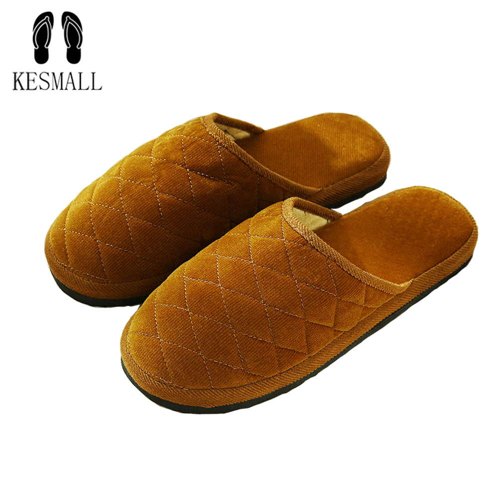 KESMALL Man slippers Fashion Soft Sole Autumn Winter Warm Home Cotton Plush Slippers Men Indoor\ Floor Flat Shoes Boys Gift W318 vanled 2017 soft sole spring autumn winter warm home cotton plush striped slippers women indoor floor flat shoes girls gift