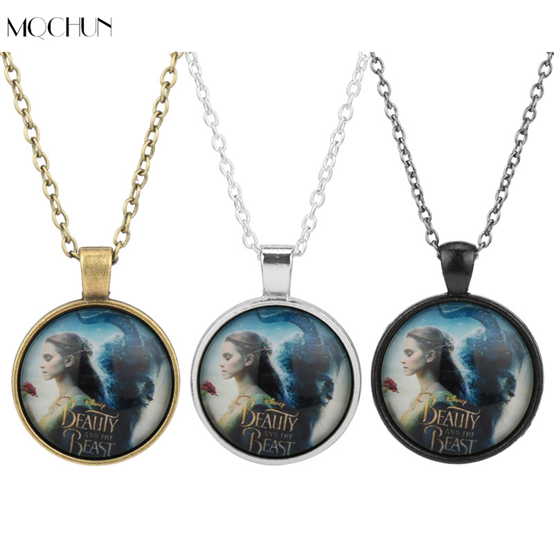 2017 Newest movie beauty and the beast locket necklace Belle princess charm men women jewelry Necklace Valentines Day gift