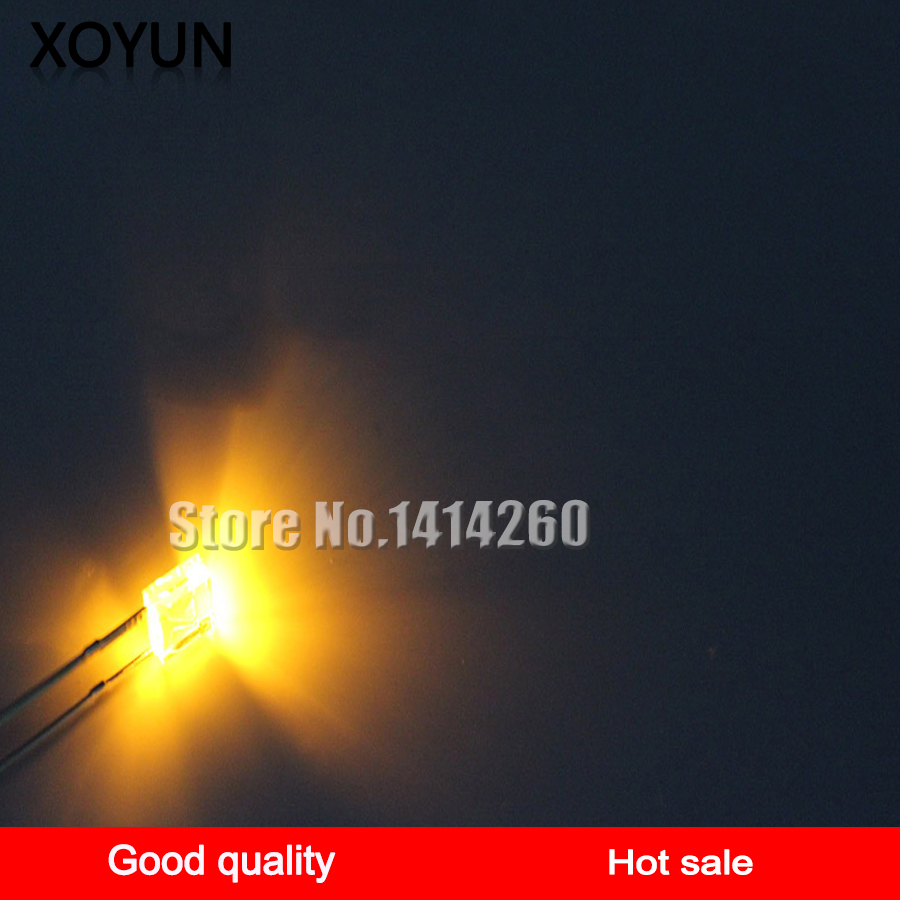 100pcs/lot 3mm Yellow White Hair Yellow Light Emitting Tube LED Diode LED Lamp