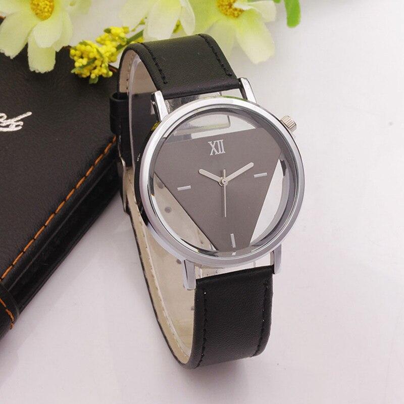 2017 Fashion Enkel Skelett Watch Triangle Par Rostfritt Stål Delikat Hollow Leather Armbandsur Quartz Dress Watch