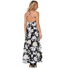 New Casual Women Maxi Summer Dress Chiffon Print Vestidos V-Neck Womens Clothing Strap Off Shoulder Split Vintage Summer Dress
