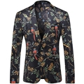 2016 New Men Floral Blazers Flowers and Birds Printed Fashion Casual Designer Brand Blazers T0090