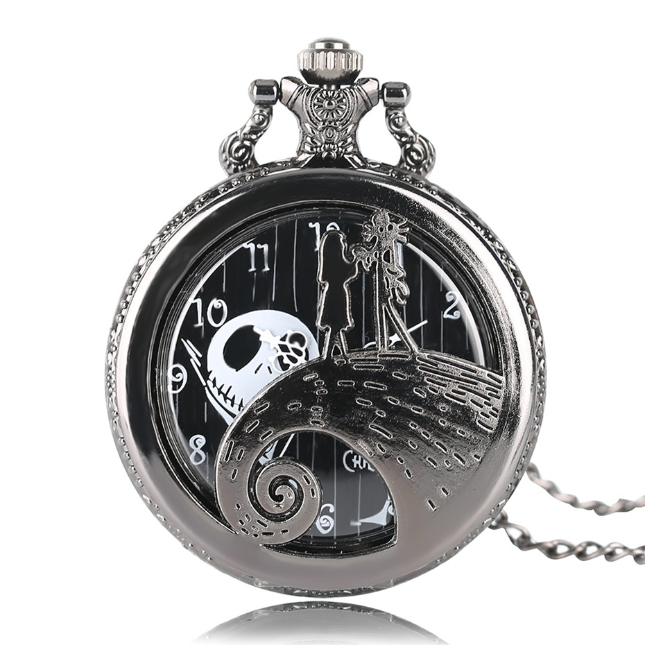 Male Female Quartz Pocket Watch The Nightmare Before Christmas Jack Pendant Wacky Watches Necklace Chain For Kids Child Gifts