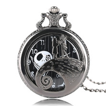 Male Female Quartz Pocket Watch The Nightmare Before Christmas Jack Pendant Wacky Watches Necklace Chain for Kids Child Gifts quartz pocket watches mens to my son i love you golden clock for kids child pocket watch necklace chain children s day gifts