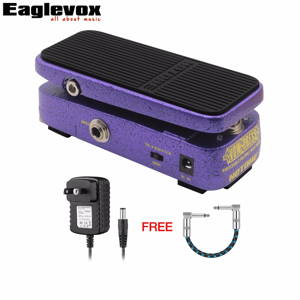 Hotone Vow Press Electric Guitar Effect Switchable Volume /Wah Pedal with Free Power Adapter and 15cm Cable hotone soul press volume expression wah wah guitar pedal cry baby sound