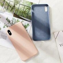Silicone Case For iPhone 6 6S 7 8 Plus Original Liquid Plain Color Clear Bumper  X Xs Max XR Coque Capas