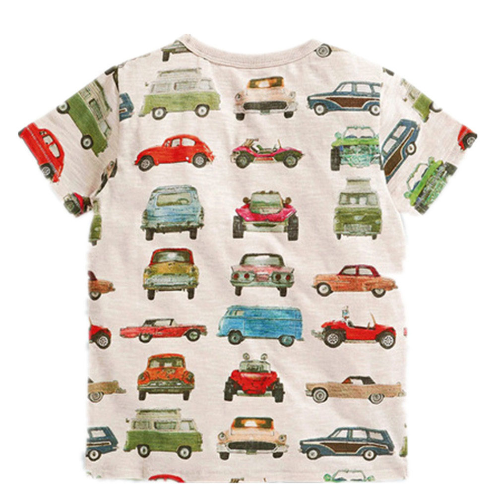 Little Maven top brand Summer Kids Children boys printing cartoon Cars pure cotton short sleeve t shirt for baby boys kids