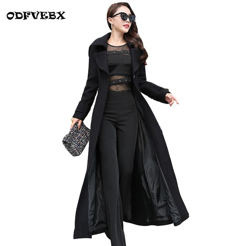 Boutique women wool windbreaker autumn winter Leisure Slim long coat high end long sleeved over the