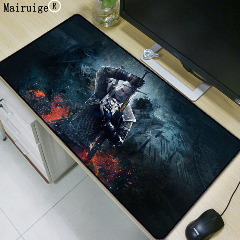 Mairuige Witcher 3 Large Mouse Pad Large Gaming Mouse Pad Locking Edge Mouse Mat Speed Version for Dota CS GO Mousepad 5 Sizes felt mouse pad computer mouse pad mousepad speed control mouse mat for csgo dota world of tanks legend large mouse pad 800 300